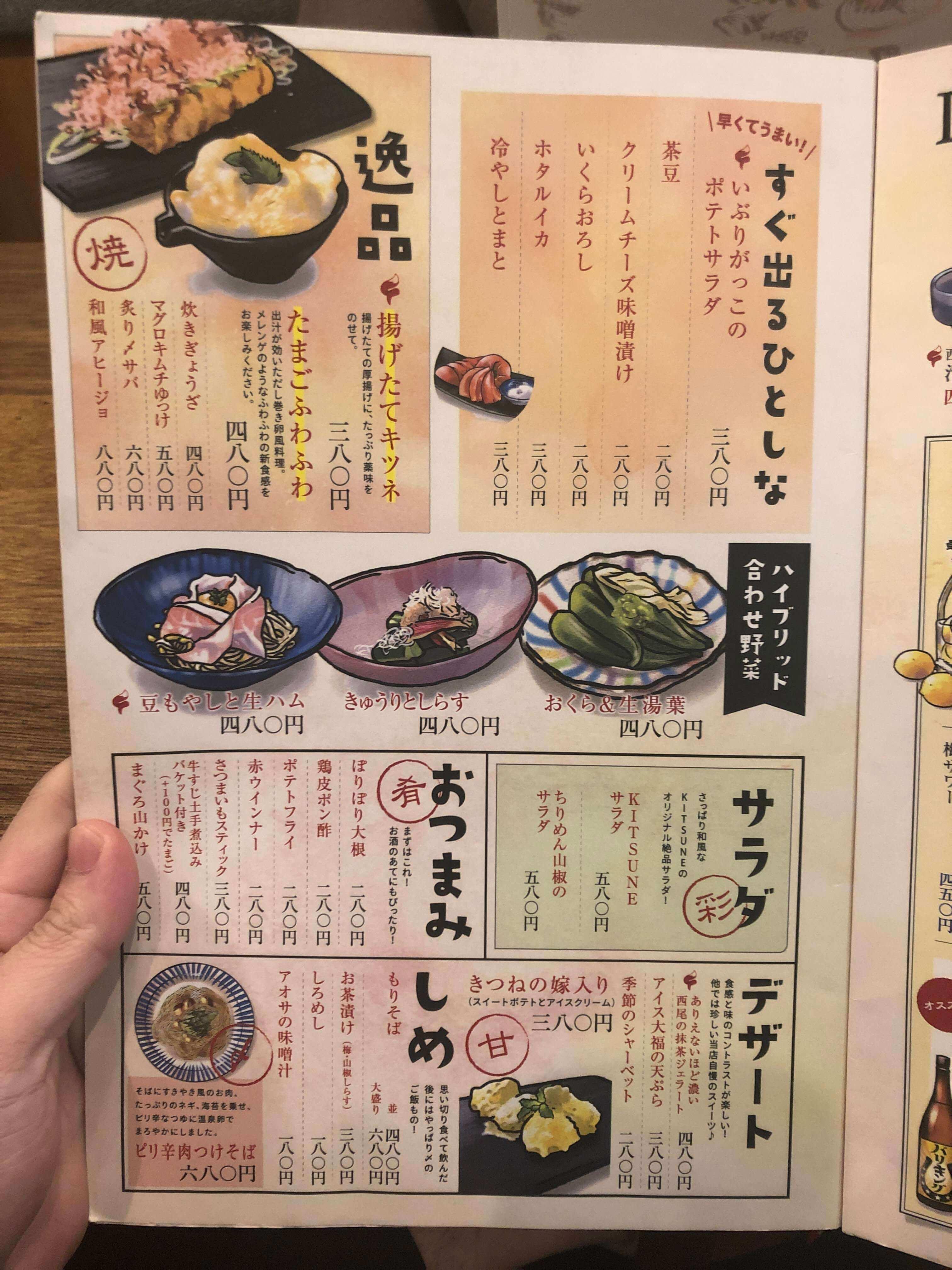 天ぷらスタンドKITSUNE メニュー